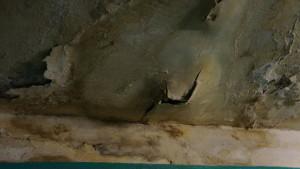 Толстый слой штукатурки уже не в первый раз валится на головы жильцов